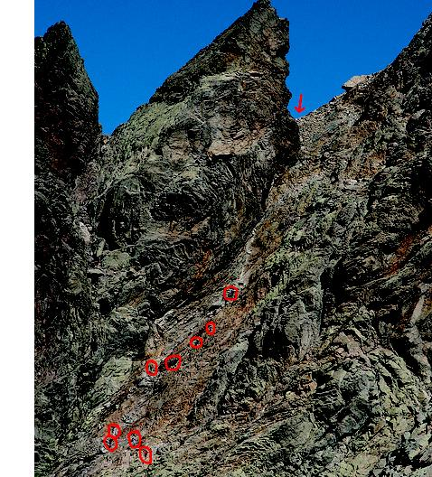 The red circles are hikers descending into the cirque.