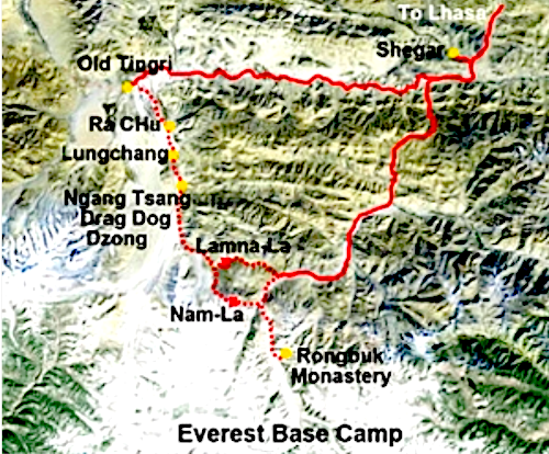 map Tingri Everest
