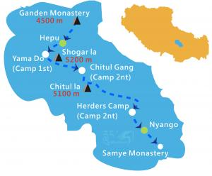 tibet-ganden-samye-trekking-tour-map