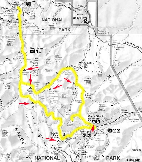 yellow marks the Highline Trail / Ptarmigan Tunnel, North Circle red arrows point to our recommended campgrounds