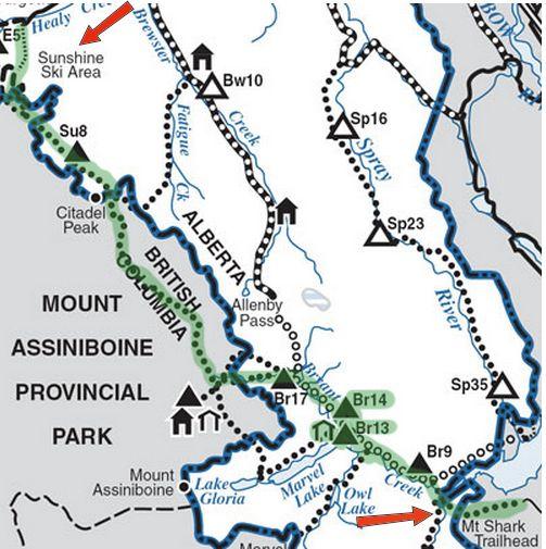 Assiniboine, Canada Map Sunshine to Assiniboine | besthike.com