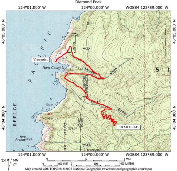 Harts Cove Trail Oregon Besthikecom - Oregon hiking trails map