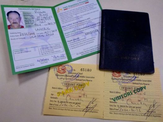 2014 permits: $20 TIMS, $30 Langtang
