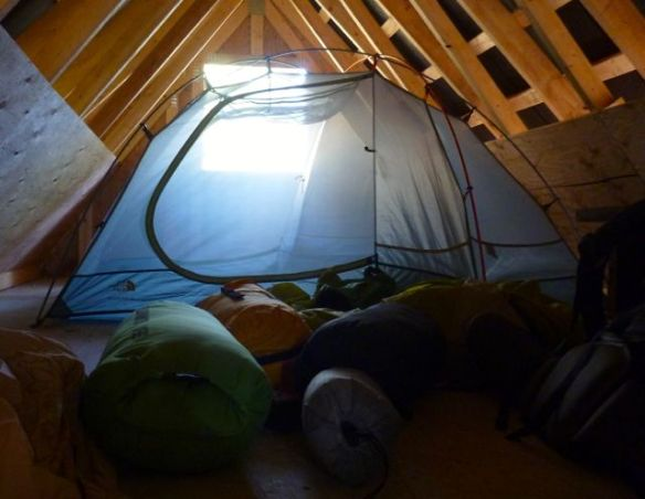 tenting inside a hut