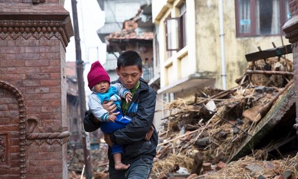 destruction in Harishidi village, Kathmandu