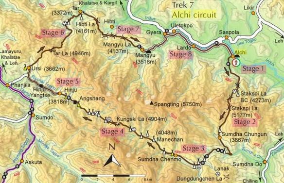 Alchi trek map