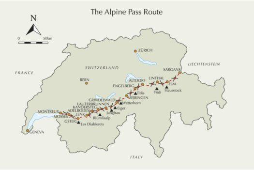 Alpine Pass Route Overview Map (Cicerone Guide)